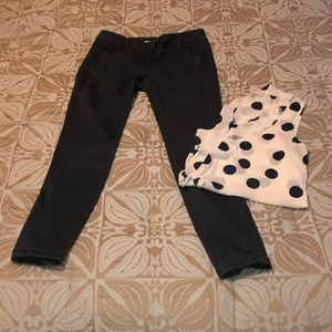 LOFT blue sateen skinny pants 2